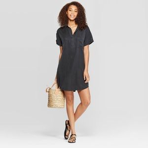 Short Sleeve Collared Shirt Dress - Charcoal Gray